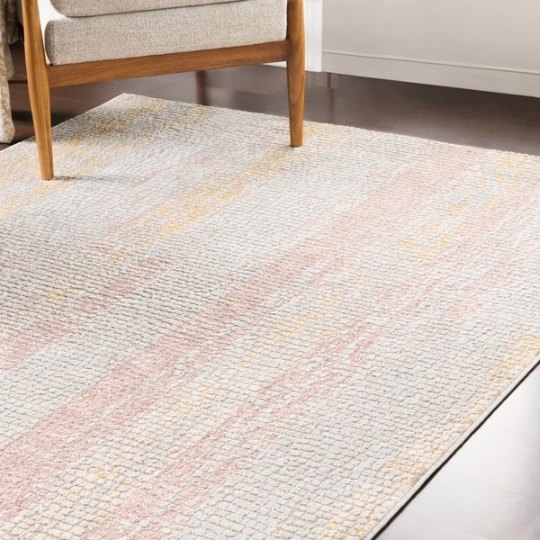 "Pavia Blush & Yellow Distressed Abstract Mosaic Area Rug - 6'7"" x 9'6"""