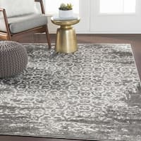 Tours Dark Gray Overdyed Damask Area Rug - 7'10 x 10'3