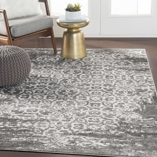 "Tours Dark Gray Overdyed Damask Area Rug - 7'10"" x 10'3"""