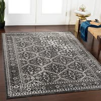 Raquel Grey Distressed Traditional Area Rug - 7'10 x 10'3