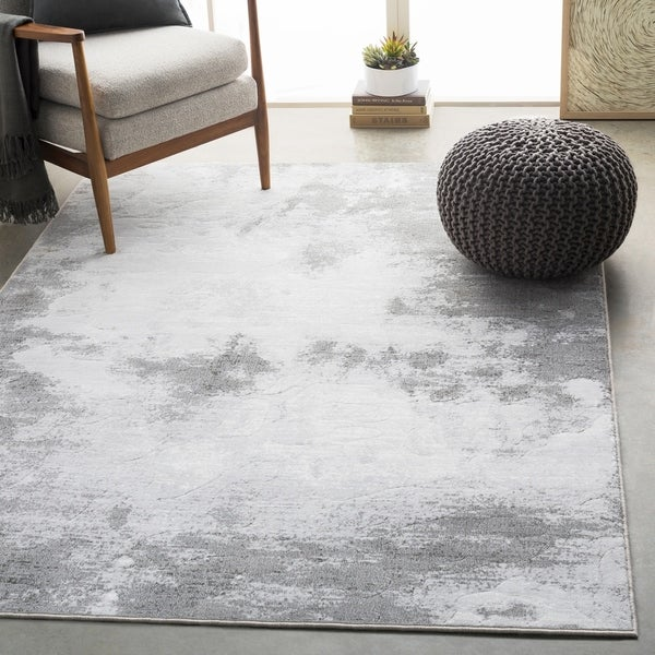 "Harmon Light Gray Modern Abstract Area Rug - 9'2"" x 12'9"""