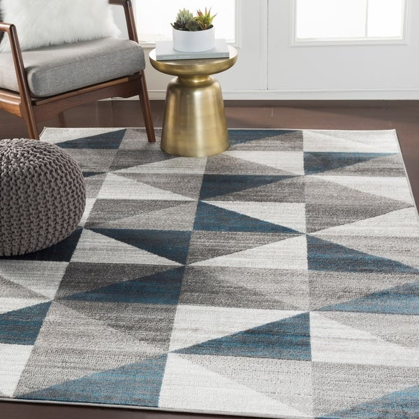 Shop Metz Blue Amp Gray Mid Century Geometric Area Rug 7