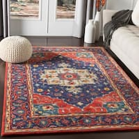 Shipra Red & White Traditional Medallion Wool Area Rug (8' x 10')