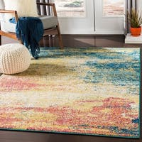 "Hafida Bright Yellow & Teal Contemporary Abstract Area Rug - 7'10"" x 10'3"""