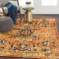 "Evry Orange & Navy Bohemian Heriz Area Rug - 7'10"" x 10'3"""
