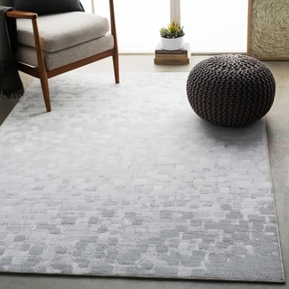 "Hedley Light Gray Modern Abstract Area Rug - 7'10"" x 10'"