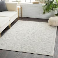 "Cali Light Gray Distressed Bohemian Medallion Area Rug  - 3'11"" x 5'7"""