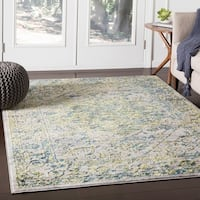 "Nirmal Grass Green Contemporary Floral Area Rug - 9'3"" x 12'3"""