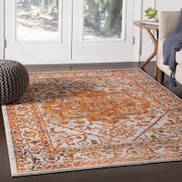Nirmal Saffron Contemporary Floral Area Rug - 7'10 x 10'3