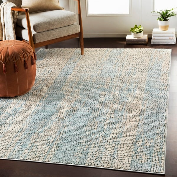 "Pavia Blue Gray Distressed Abstract Mosaic Area Rug - 3'11"" x 5'7"""