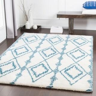 """Arwen Bright Blue Bohemian Shag Area Rug (5'3"""" x 7'6"""") - 5'3"""" x 7'6"""""""