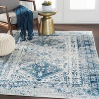 Evry Blue & Light Gray Vintage Heriz Area Rug - 5'3 x 7'3