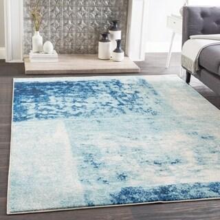 Talia Blue Modern Block Print Area Rug (2' x 3')
