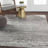 "Albi Gray Contemporary Stripes Area Rug - 5'3"" x 7'3"""