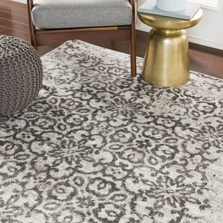 Tours Light Gray Distressed Damask Area Rug - 5'3 x 7'3