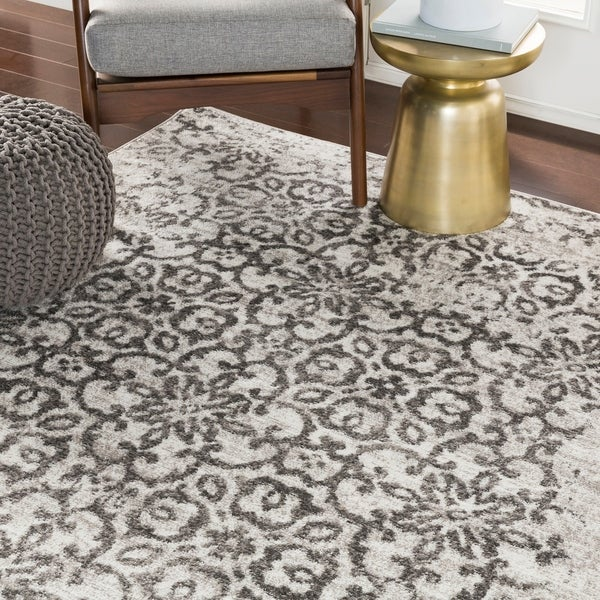 "Tours Light Gray Distressed Damask Area Rug - 5'3"" x 7'3"""