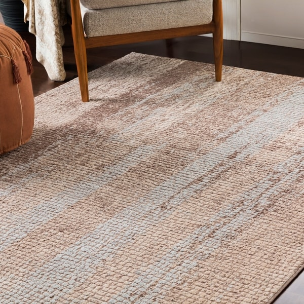 Pavia Beige Distressed Abstract Mosaic Area Rug - 2' x 3'
