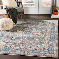 "Mourad Charcoal Vintage Distressed Medallion Area Rug - 5'3"" x 7'3"""