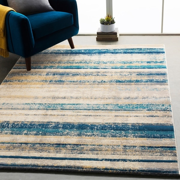 Shop Monae Teal & Yellow Mid-Century Striped Area Rug