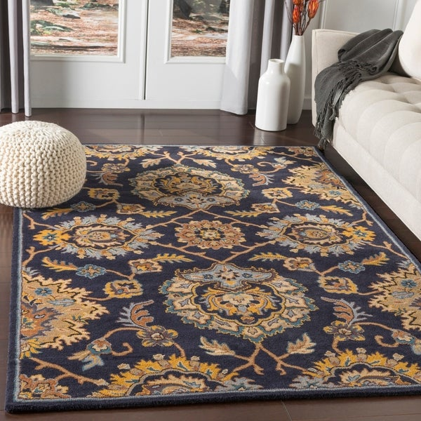 Shop Hammad Navy Traditional Medallion Wool Area Rug 2
