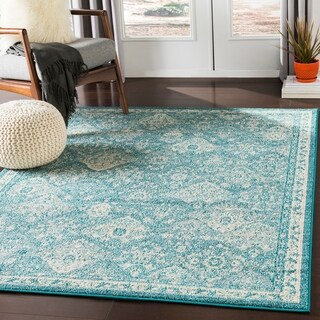 Besma Teal Traditional Medallion Area Rug - 2' x 3'