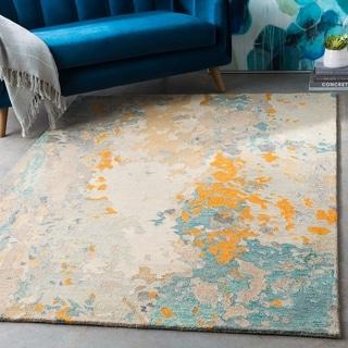 "Astrid Teal & Beige Abstract Wool Area Rug - 5' x 7'6"""