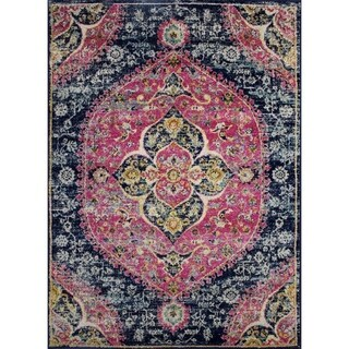 """Rug and Decor - Casba Collection - Navy Pink Traditional Area Rug - 3'6"""" x 5'"""