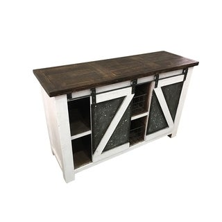 Solid Wood Accent Table With Storage, White And Brown