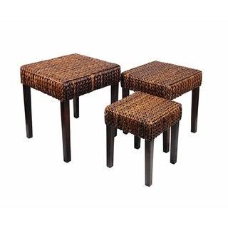 Rattan Bamboo Leaf Coffee Table, Brown, Set Of Three
