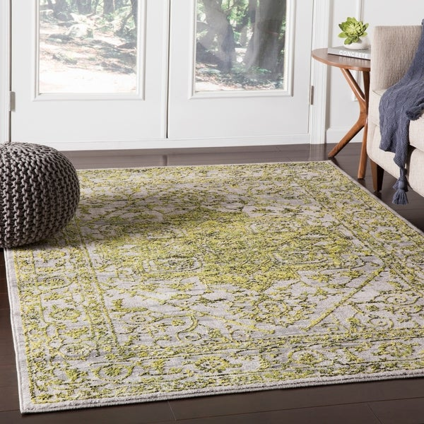 Nirmal Bright Yellow Contemporary Floral Area Rug - 2' x 3'
