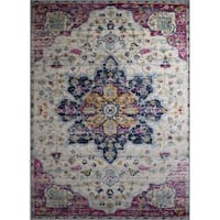 Rug and Decor -Casba Collection - Pink - Cream Traditional Area Rug - 7'5 x 10'6