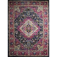 "Rug and Decor - Casba Collection - Violet Navy Traditional Area Rug - 9'2"" x 12'1"""