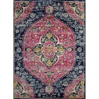 Rug and Decor - Casba Collection - Navy Pink Traditional Area Rug - 7'5 x 10'6