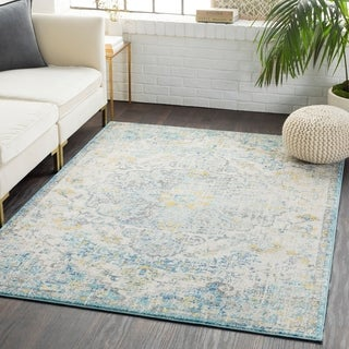 Caressa Beige & Yellow Distressed Bohemian Medallion Area Rug  - 5'3 x 7'3