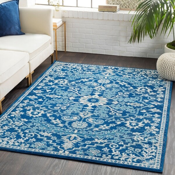 "Caressa Blue Distressed Bohemian Medallion Area Rug  - 2'7"" x 7'3"" Runner"
