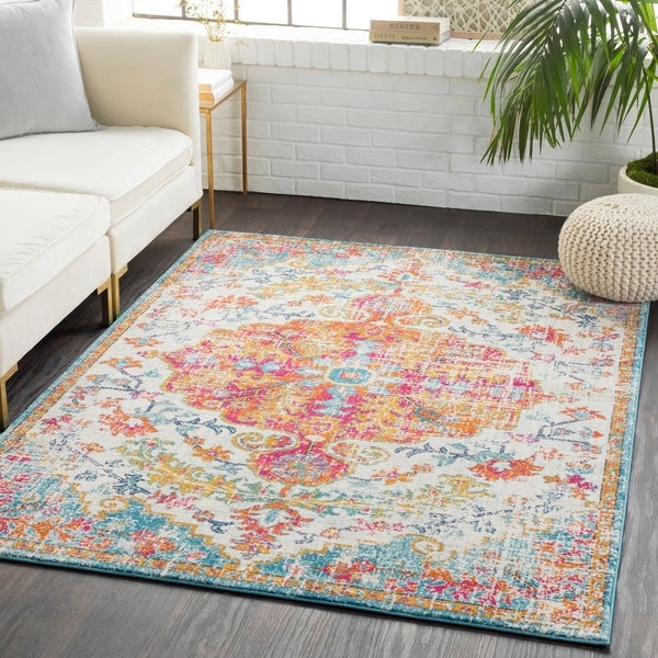 Caressa Orange & Teal Distressed Bohemian Medallion Area Rug  - 5'3 x 7'3