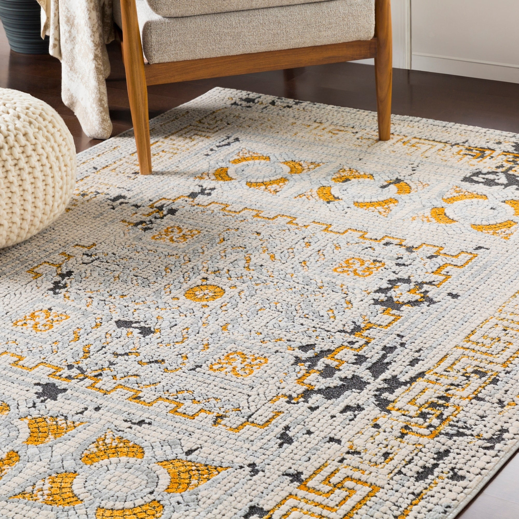 Padua Yellow Grey Distressed Mosaic Area Rug 5 3 X 7