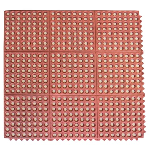Buffalo Tools Red 3 x 3 Foot Interlocking Rubber Mats - 4 Pack