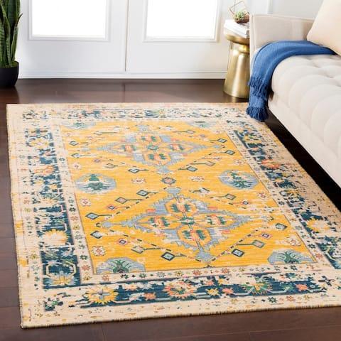 "Zachariah Saffron Traditional Wool Blend Area Rug - 5'3"" x 7'6"""