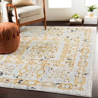 "Lucca Yellow & Gray Distressed Mosaic Area Rug - 6'7"" x 9'6"""