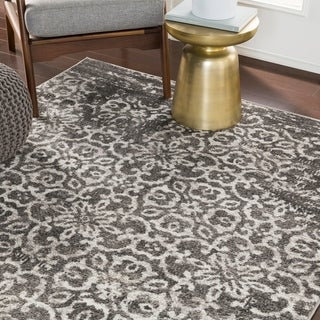 "Tours Dark Gray Overdyed Damask Area Rug - 5'3"" x 7'3"""