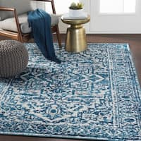 Abbas Sky Blue Vintage Traditional Area Rug - 7'10 x 10'3