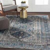Evry Gray & Blue Vintage Heriz Area Rug - 5'3 x 7'3