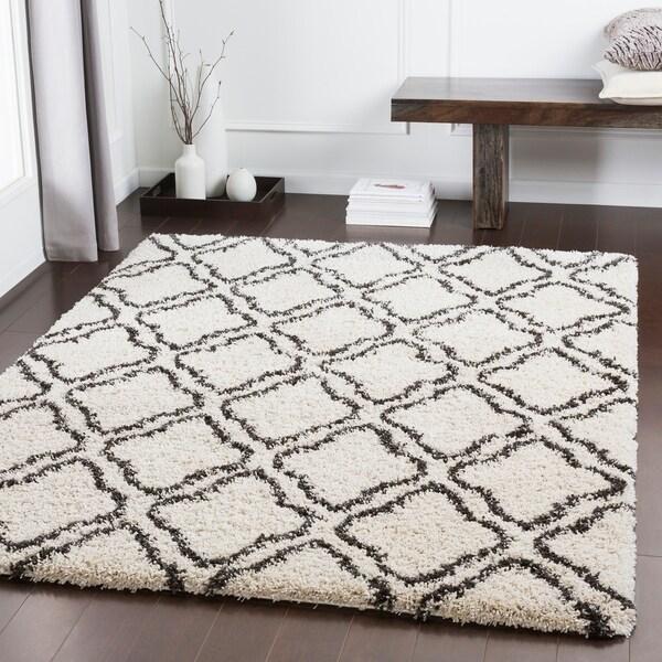 Shop Aleah Ivory Moroccan Tile Plush Shag Area Rug