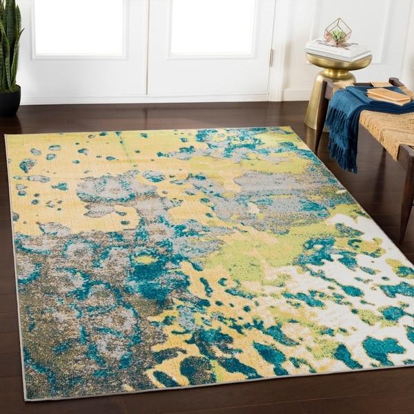 """Rhea Yellow Abstract Area Rug (7'10"""" x 10'3"""") - 7'10"""" x 10'3"""""""