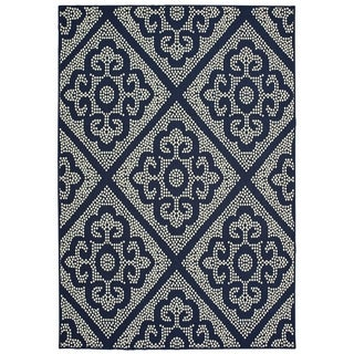 "Havenside Home Kaktovik Medallion Lattice Navy/ Ivory Loop Pile Indoor/ Outdoor Area Rug - 8'6"" x 13'"