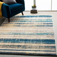 "Monae Teal & Yellow Mid-Century Striped Area Rug (7'10"" x 10'3"") - 7'10"" x 10'3"""