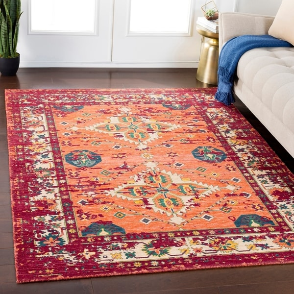 "Zachariah Orange & Red Traditional Wool Blend Area Rug - 5'3"" x 7'6"""