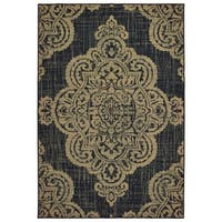 Center Medallion Black/ Tan Loop Pile Indoor-Outdoor Area Rug - 7'10 x 10'10