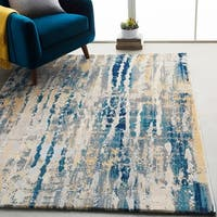 "Monae Navy and Yellow Abstract Area Rug - 7'10"" x 10'3"""
